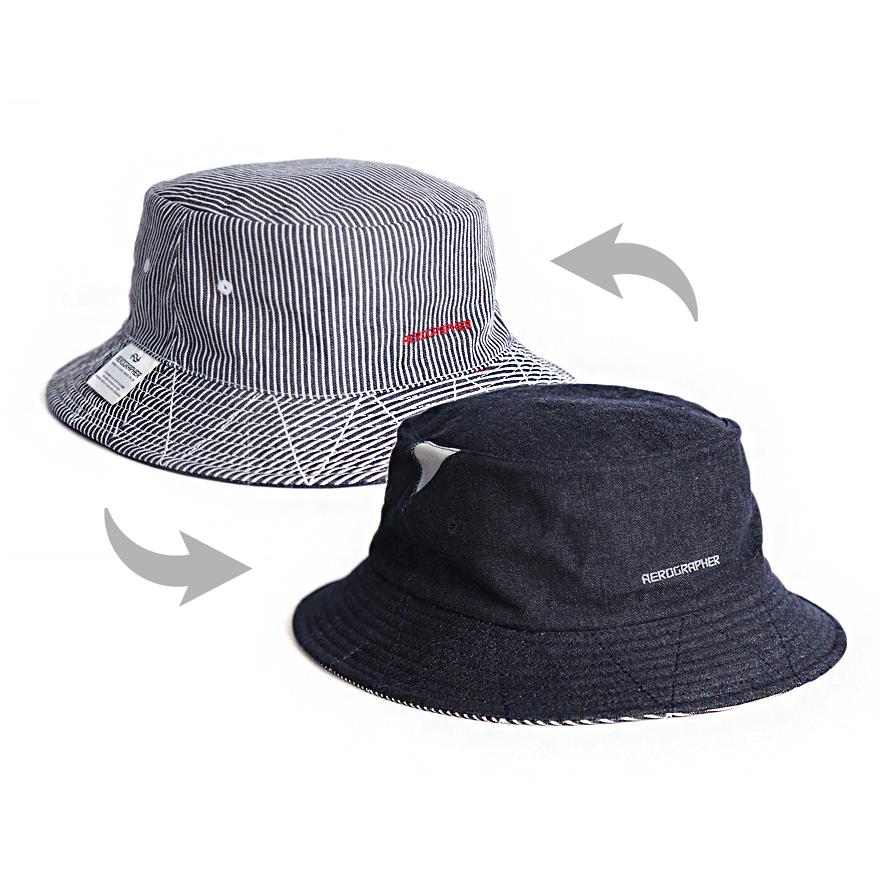 2Way Bucket Hat - Denim / Stripe