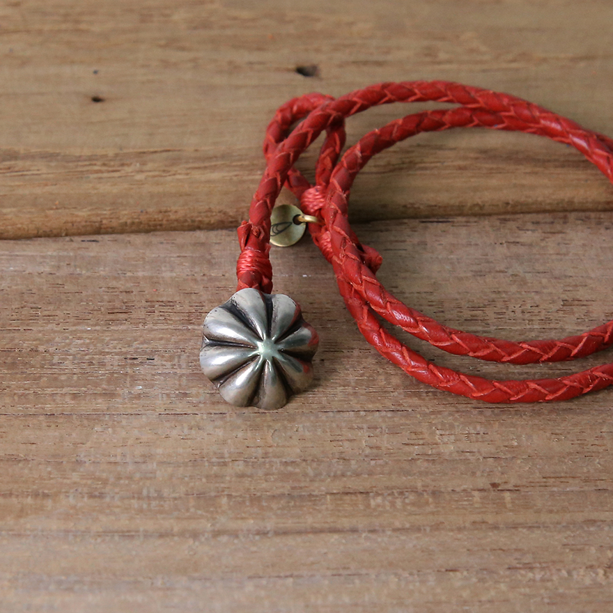 Concho Braided Leather Bracelet - Red