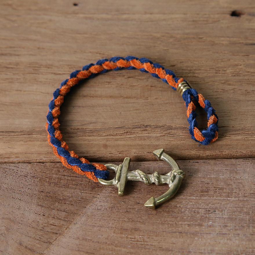 Anchor Woven Bracelet - Navy&Orange