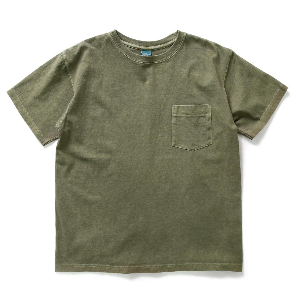 5.5oz 포켓 반팔 티셔츠 - 피그먼트 세이지