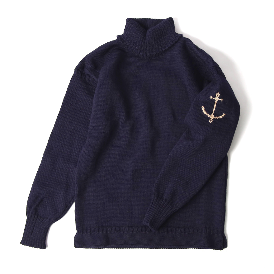 Guernsey Turtleneck Sweater - Navy