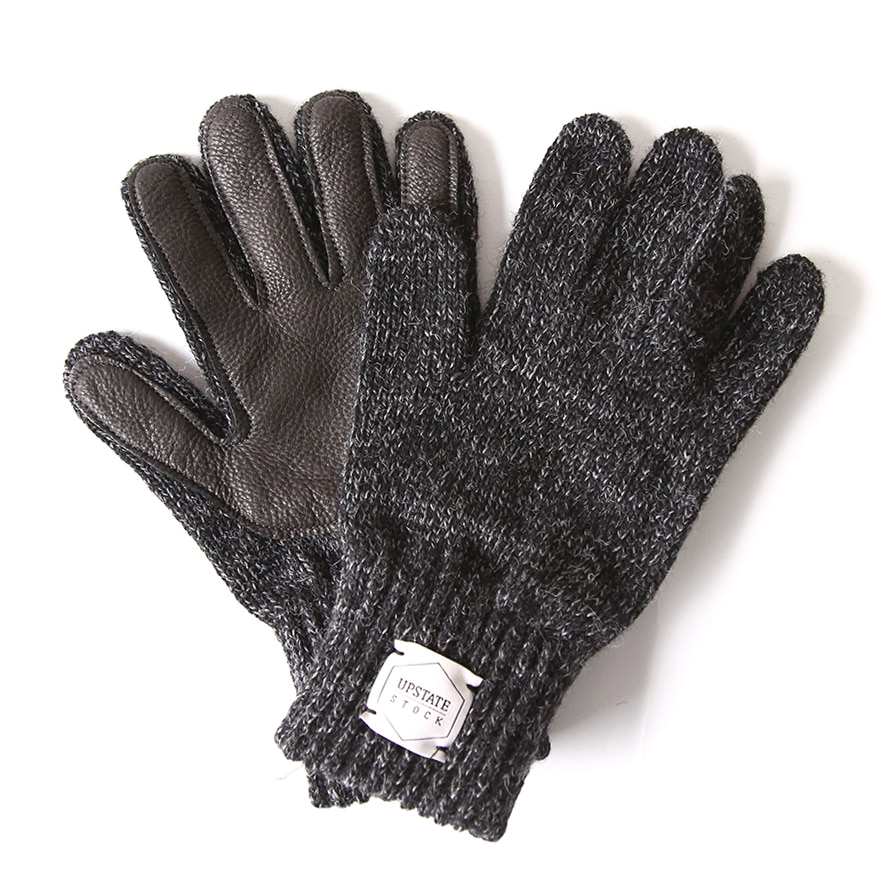 Wool Glove with Black Deer - Black