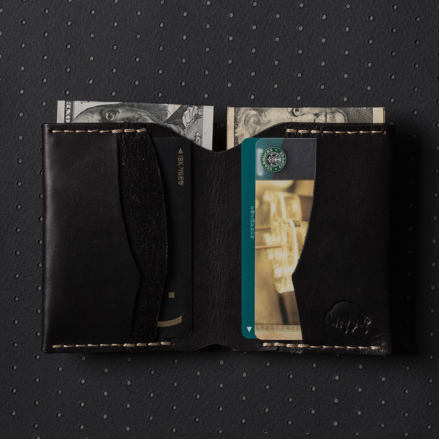 No.4 Wallet - Jet top stitch