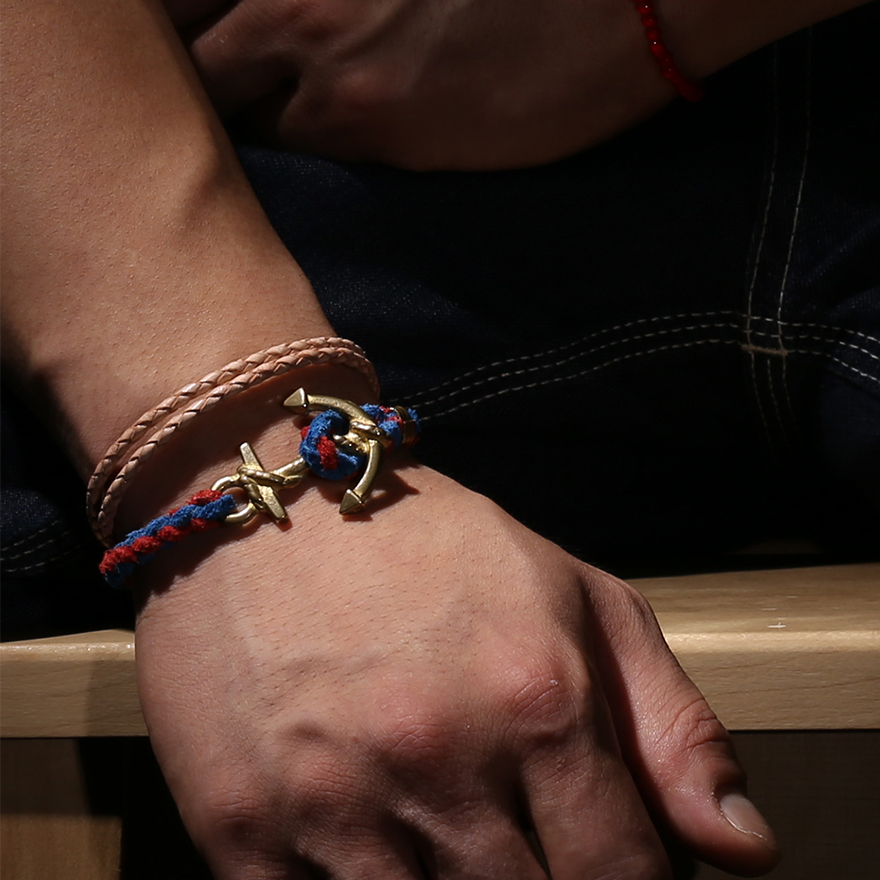 Anchor Woven Bracelet - Blue&Red