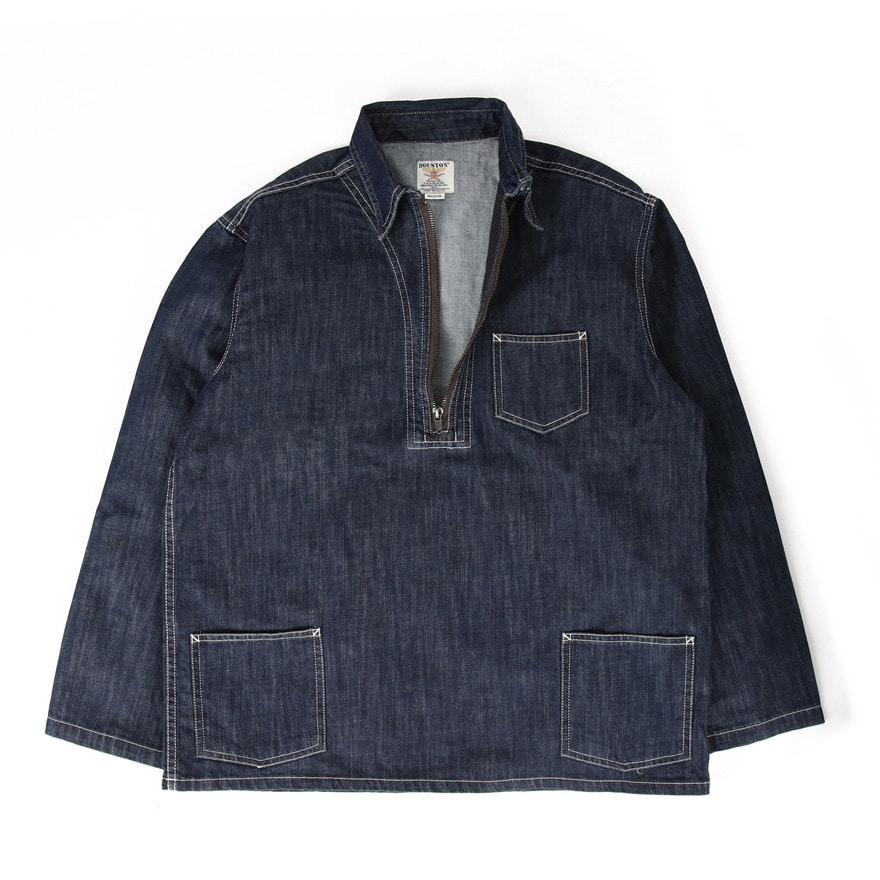 Denim Half Zip Shirts - Indigo