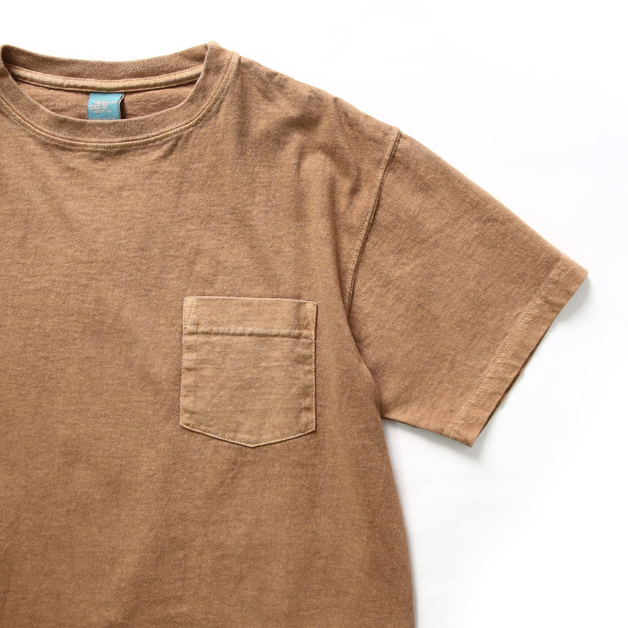 Crew Neck Pocket T-shirts - P-Mocha