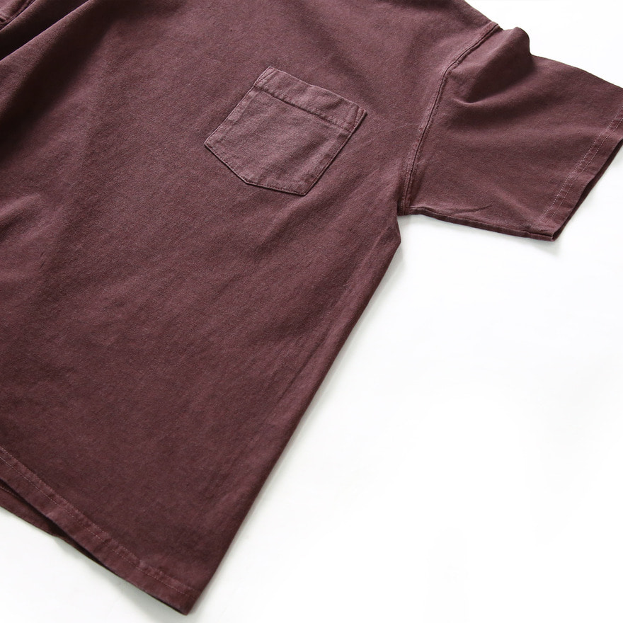 Crew Neck Pocket T-shirts - P-Bordeaux