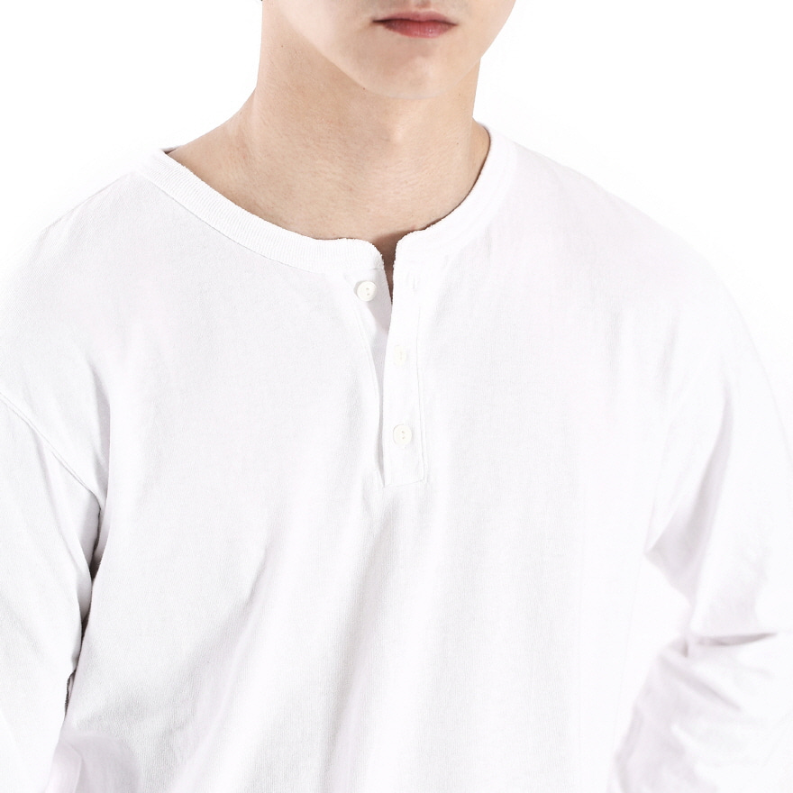 Henley Long T-Shirts - White