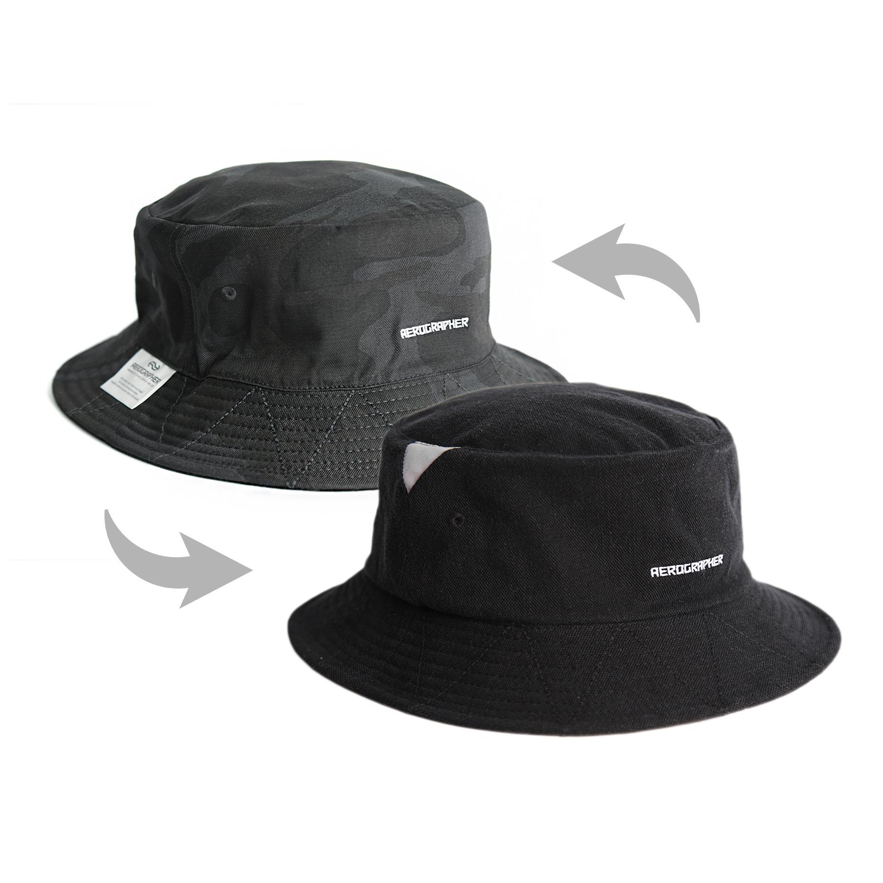 2Way Bucket Hat - Black / Camo