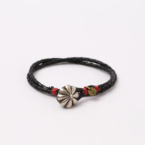 Concho Braided Leather Bracelet - Black