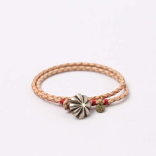 Concho Braided Leather Bracelet - Tan