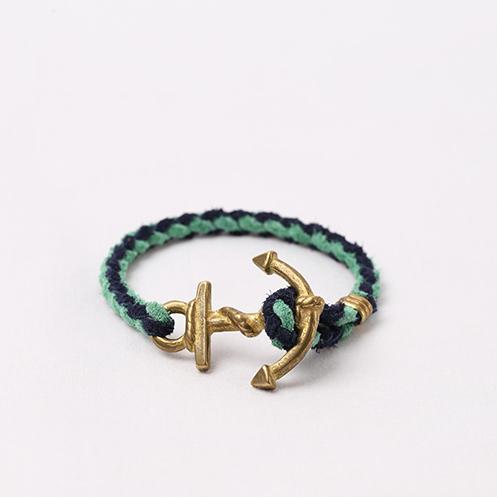 Anchor Woven Bracelet - Navy&Mint