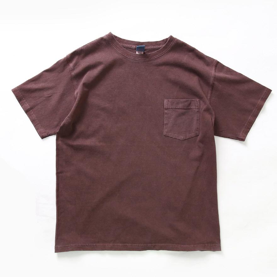 5.5oz 포켓 반팔 티셔츠 - 피그먼트 보르도