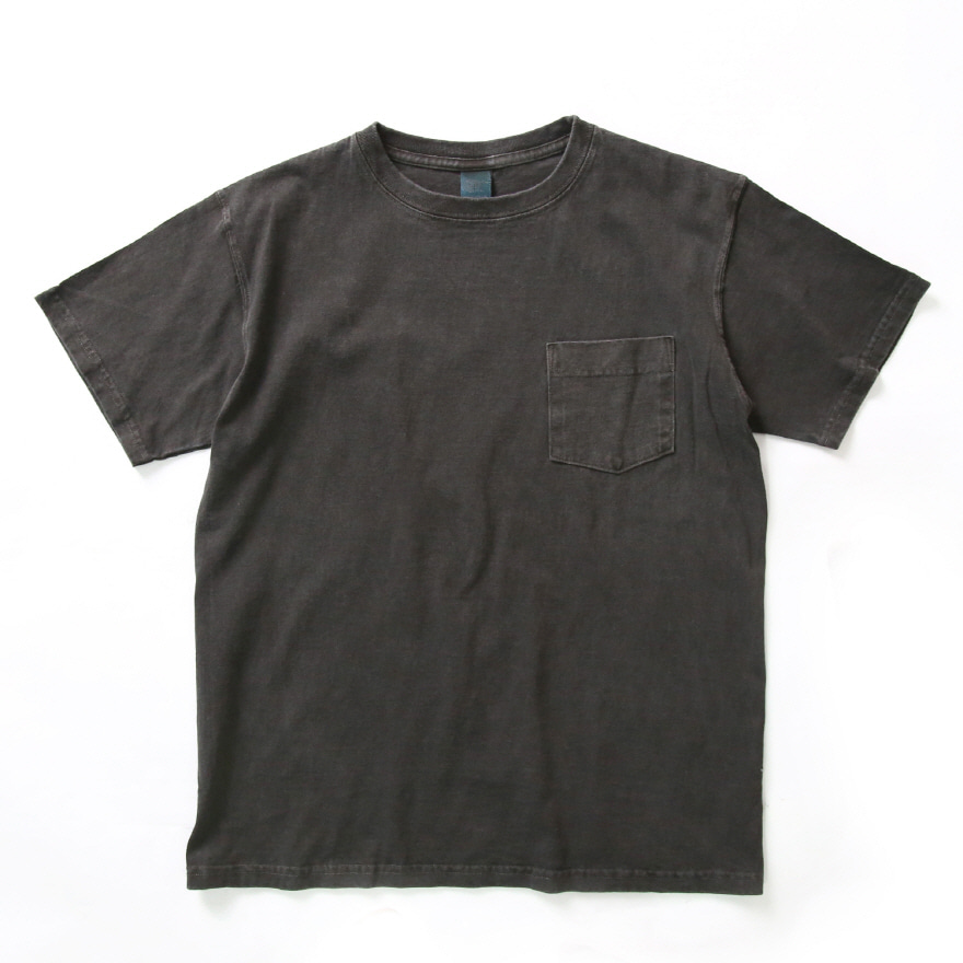 Crew Neck Pocket T-shirts - P-Black