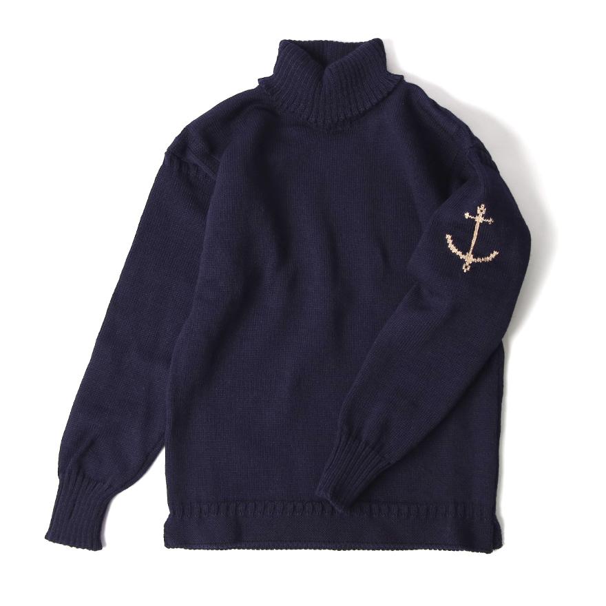 건지 터틀넥 스웨터 - Navy