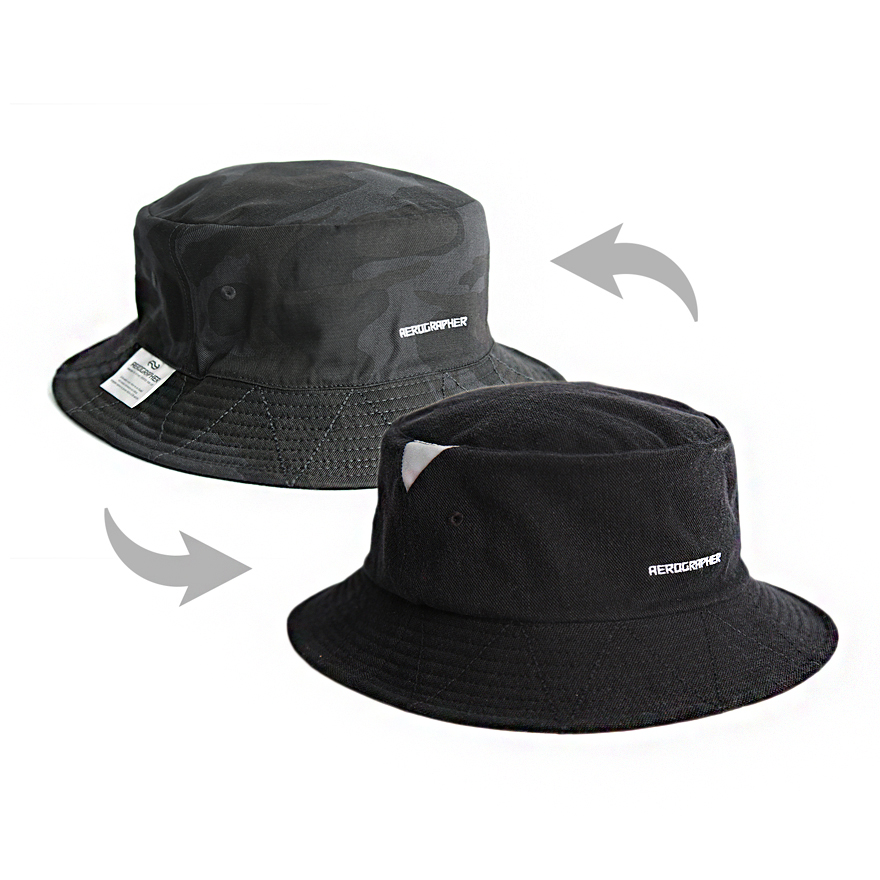2Way Bucket Hat - Black / Camo