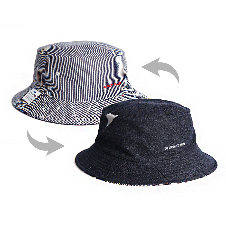 2Way Bucket Hat - Denim / Stripe
