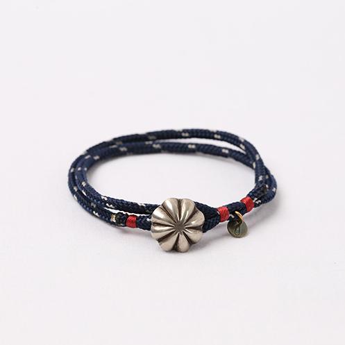 Concho Nylon Bracelet - Navy&Silver