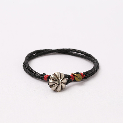 Concho Braided Leather Bracelet - Black