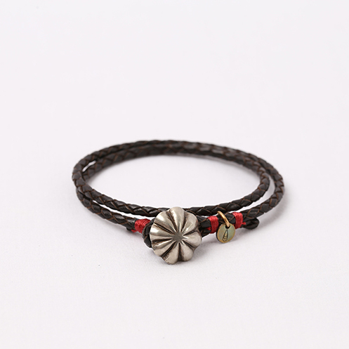 Concho Braided Leather Bracelet - D.Brown