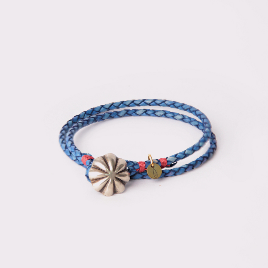 Concho Braided Leather Bracelet - L.Blue