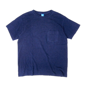 Crew Neck Pocket T-Shirts - Indigo