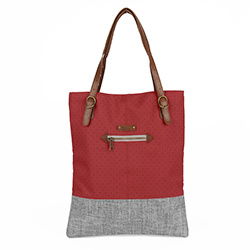 BERENICE Tote Bag - Red/Grey