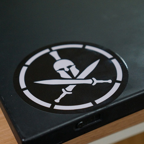 Spartan Helmet Decal Sticker - Grey on Black