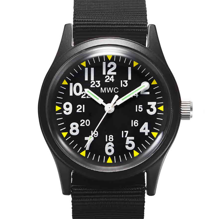Classic 1960s/70s Pattern Matt Black Vietnam Watch on Matching Webbing Strap