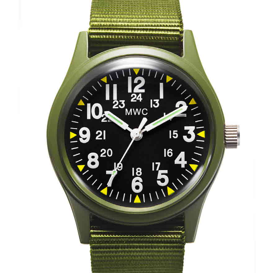 Classic 1960s/70s US Pattern Olive Drab Vietnam Watch on Olive Green Military Strap