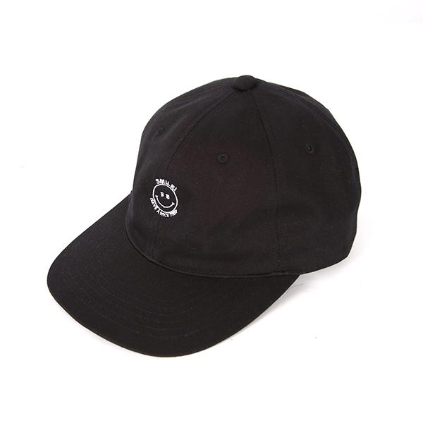 Smile Embroidery Cap - Black