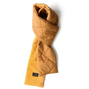 Pocketable Quilting Muffler - Brown / Mustard