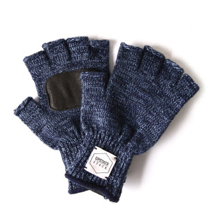 Fingerless Wool Glove with Black Deer - Denim