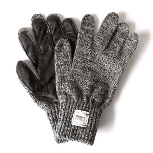 Wool Glove with Black Deer - Charcoal