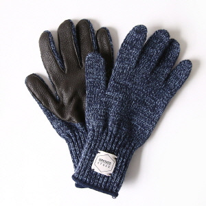 Wool Glove with Black Deer - Denim