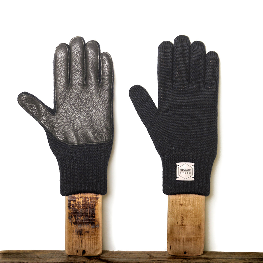 Ragg Wool Glove with Black Deer - Navy