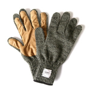Wool Glove with Natural Deer - Dark