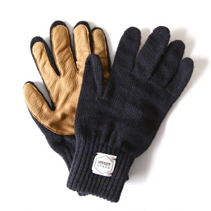 Wool Glove with Natural Deer - Navy